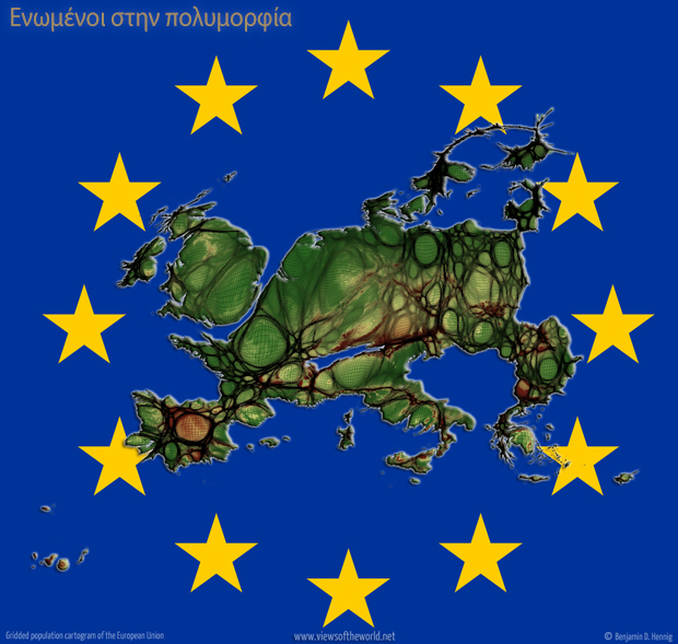 Map: Gridded Population Cartogram of the European Union