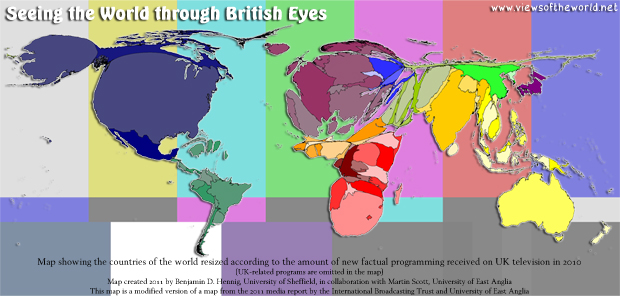Map of factual programming received by different countries on British television in 2010