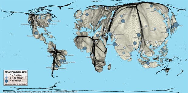 Cartogram / Map of the World's Megacities in 2015