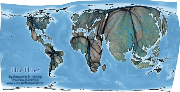 Map of a Blue Planet: Gridded Population Cartogram of the World