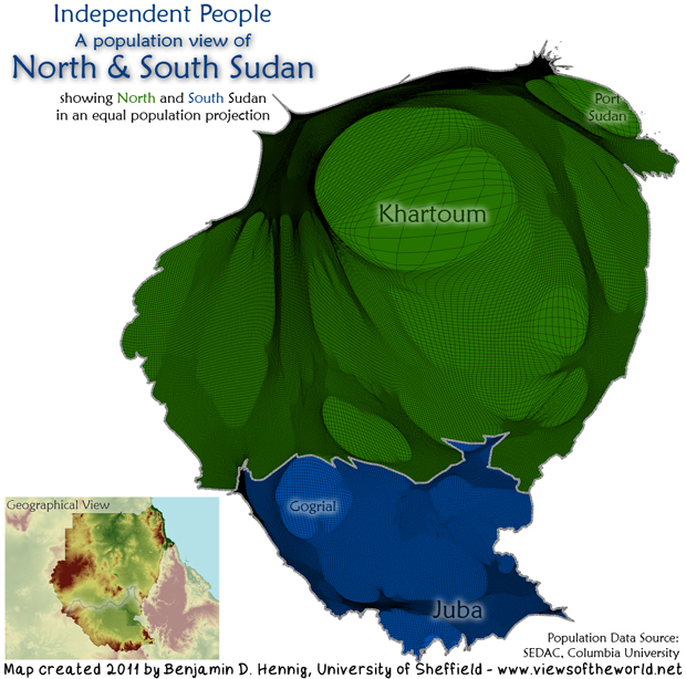 Map / Gridded Population Cartogram of Sudan in 2011