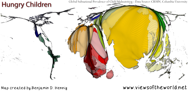Map / Gridded Cartogram of Global Child Malnutrition
