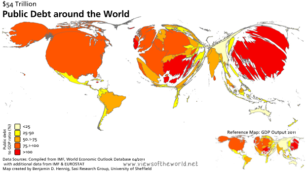 Map / Cartogram of Global Public Debt Levels and GDP Shares 2011