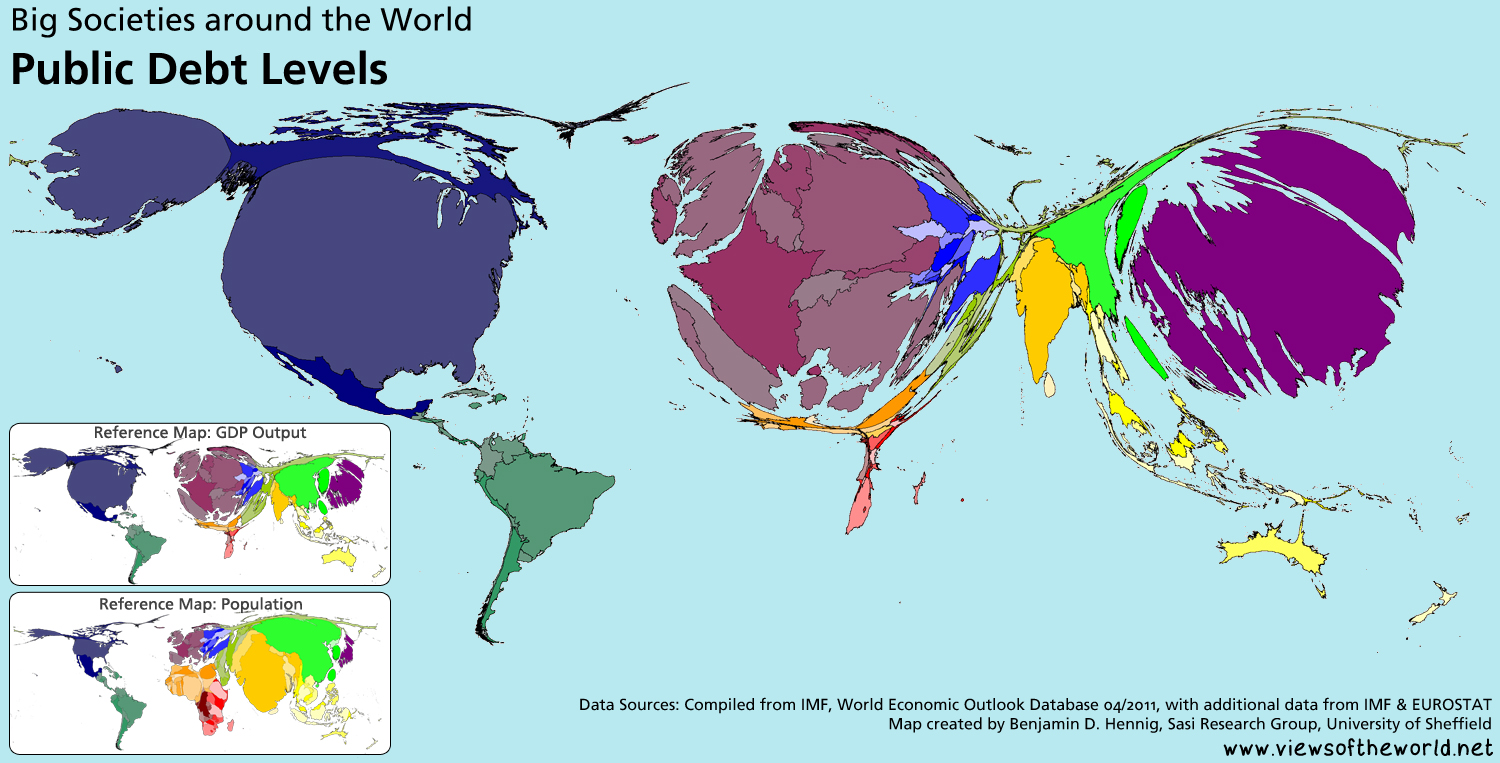 54 trillion debt views of the world worldmapper map cartogram of global public debt levels 2011 gumiabroncs Choice Image