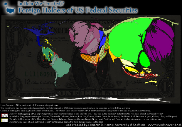 Map / Cartogram of US Foreign Debt 2011