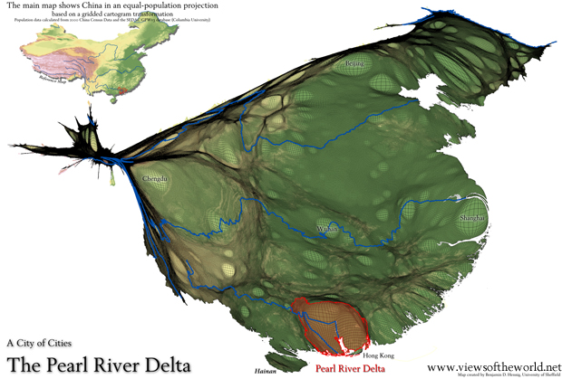 Map / Gridded Population Cartogram of China and the Pearl River Delta