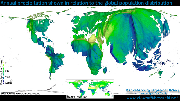 Map / Gridded Population Cartogram of Annual Rainfall (Precipitation) distribution in relation to people