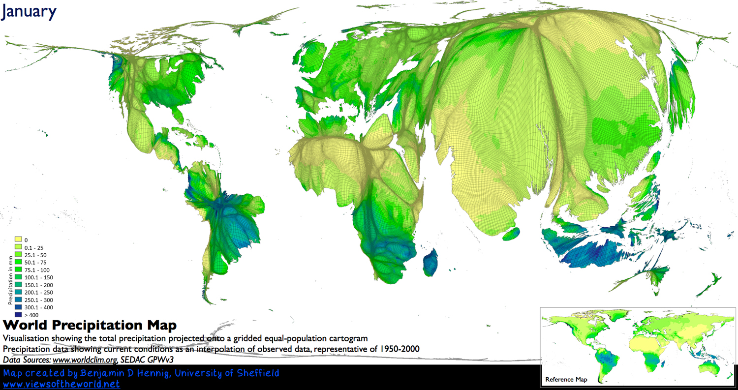 Precipitation World Map.When Does It Always Rain On Us Views Of The World