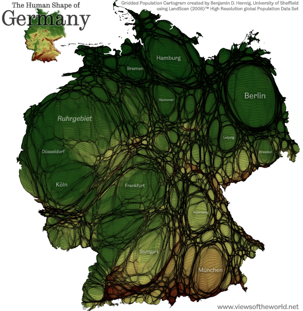 High Resolution Map / Gridded Population Cartogram of Germany