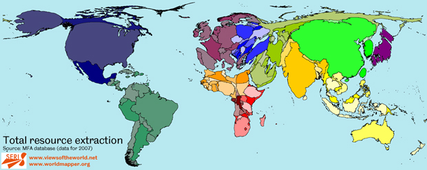 Map / Worldmapper Cartogram of Resource Extraction in 2007