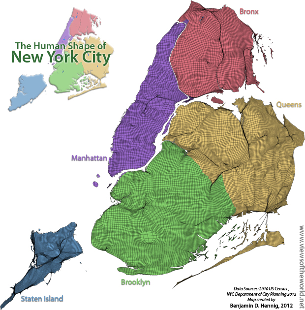 The Human Shape of New York City - a gridded population cartogram