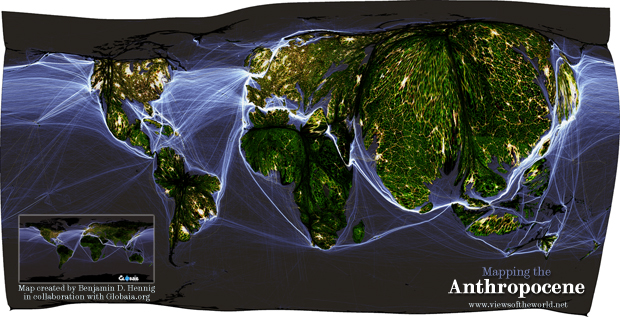 The Human Shape of the Anthropocene - a gridded population cartogram