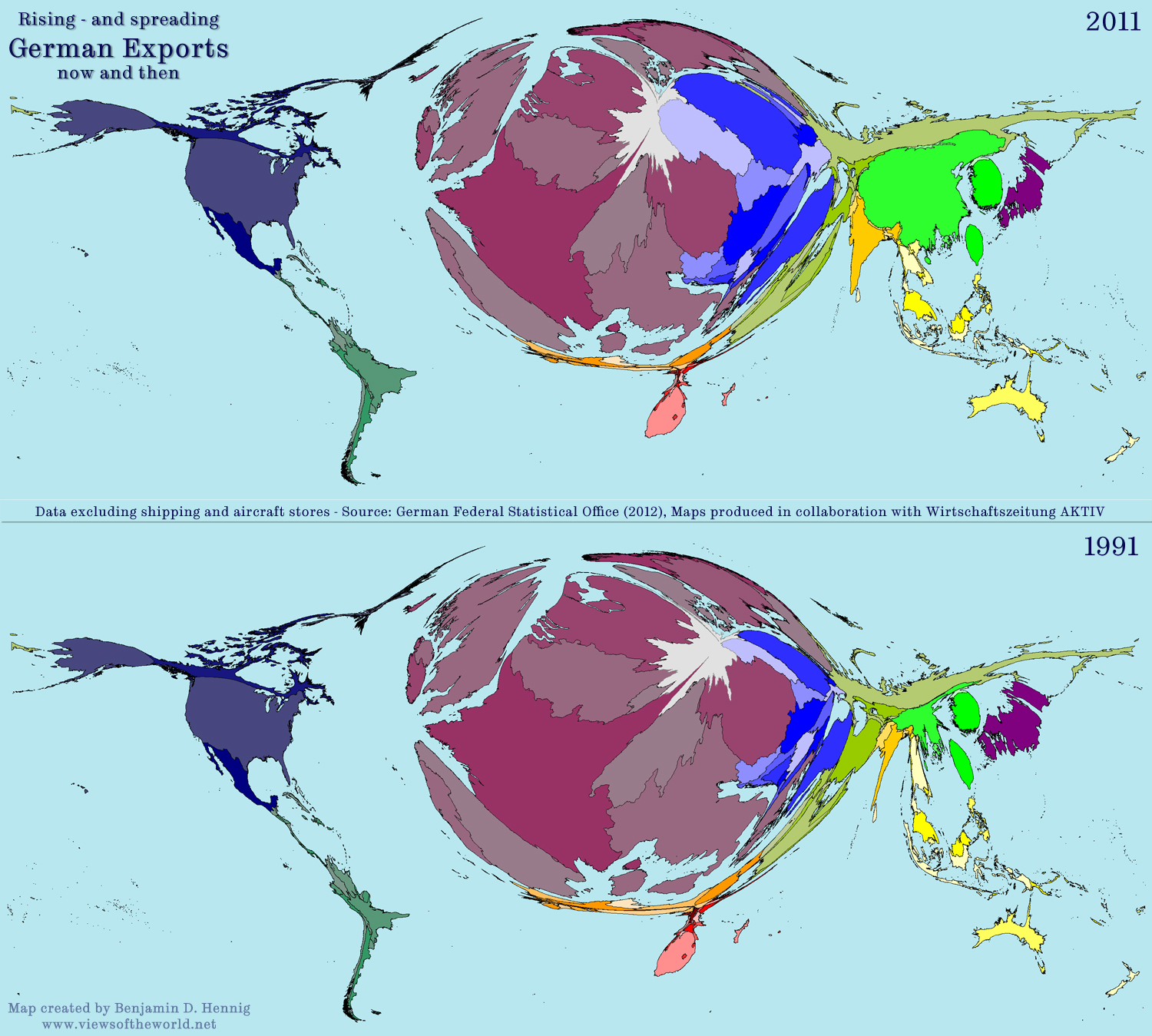 cartogram map of german exports in 1991 and 2011