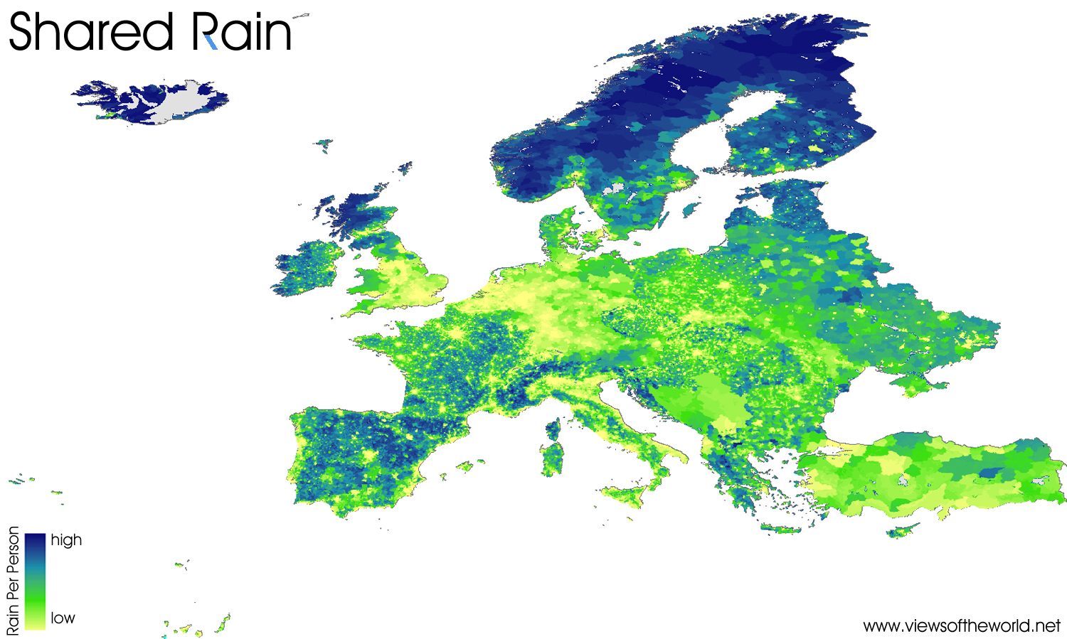 Precipitation World Map.Shared Rain Views Of The World