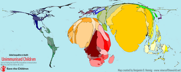 Cartogram / Map of Unimmunised Children in the World