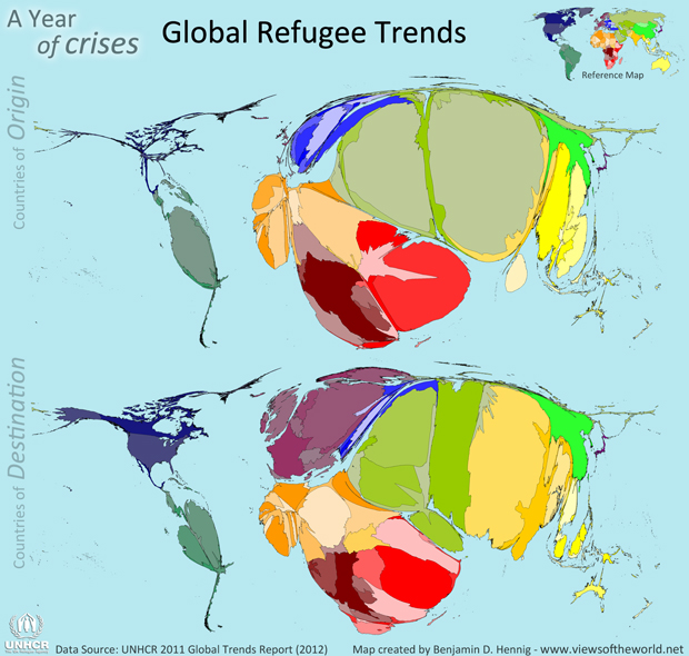 Cartograms / Maps of Refugee Origin and Destination Countries in 2011