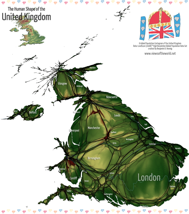 High Resolution Map / Gridded Population Cartogram of the United Kingdom