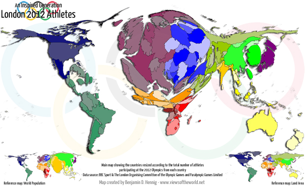 Cartogram / Map of athletes participating in the 2012 Olympics in London