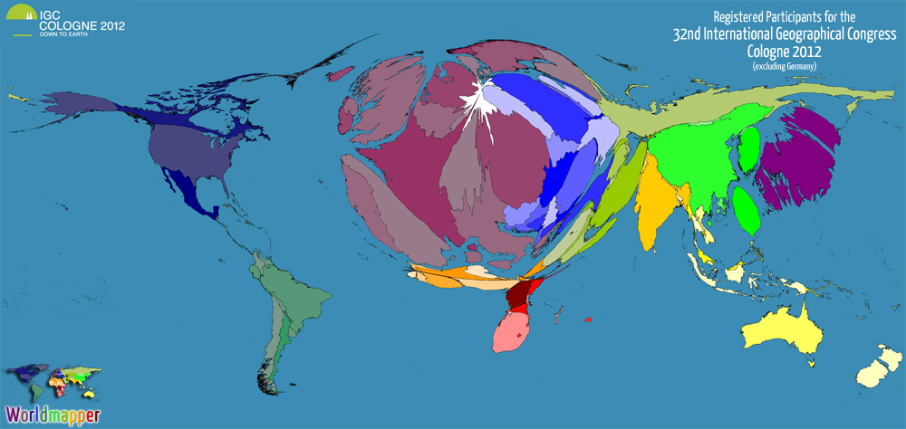 Cartogram / Map of the participants at the 32nd International Geographical Congress (IGC) in Cologne 2012