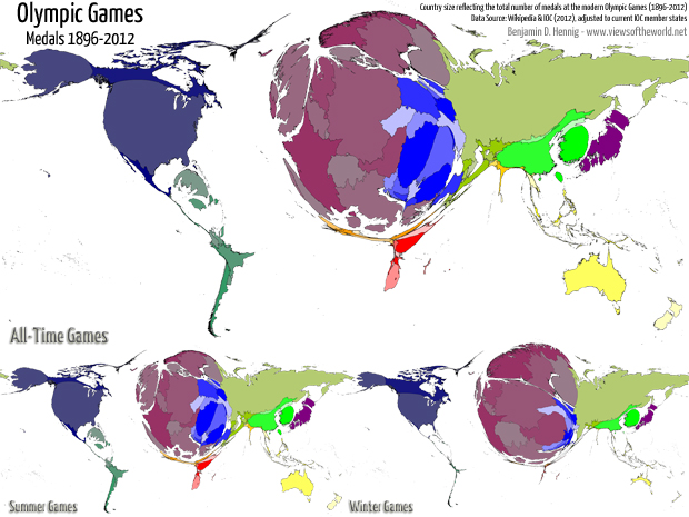 Cartogram / Map of all-time medals at the modern Olympic Games