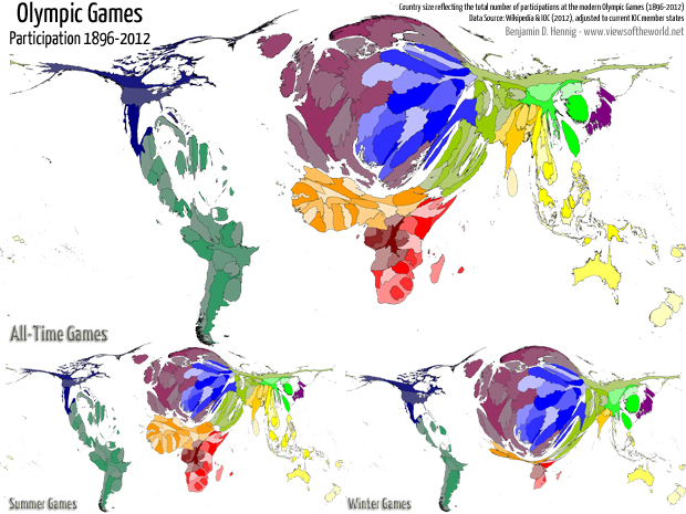 Cartogram / Map of the all-time participation at the modern Olympic Games
