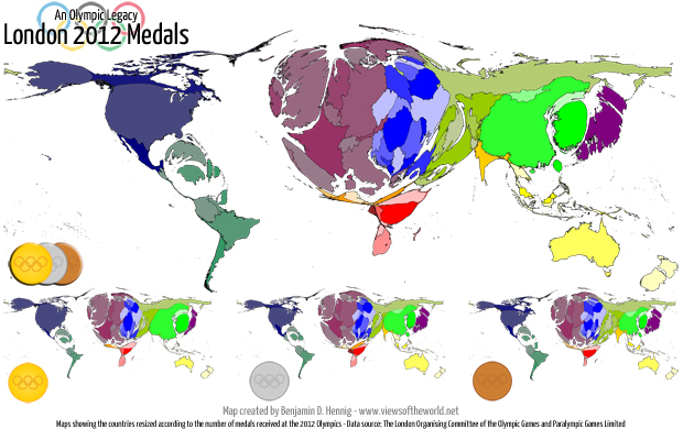 Cartogram / Map of the medals at the 2012 Olympic Games in London