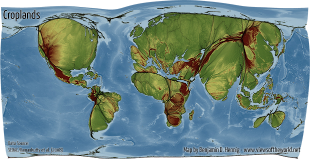 World map according to cropland