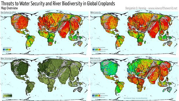 Agricultural Lands Cartogram / Map of Croplands and their relation to Water Insecurity