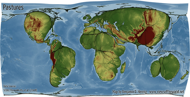 Agricultural Lands Cartogram / Map of Pastures