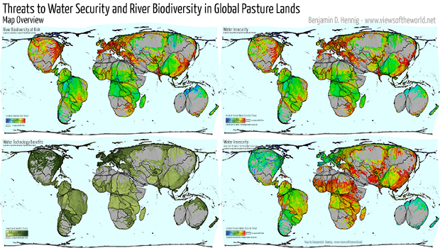 Agricultural Lands Cartogram / Map of Pastures and their relation to Water Insecurity