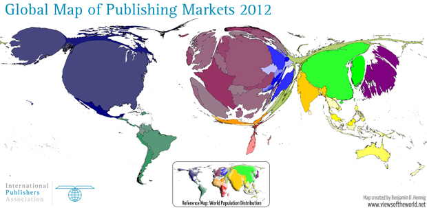 Cartogram / World Map of Global Publishing Markets in 2012