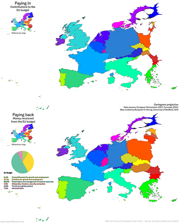 Cartogram / Map of the Money Paid into and received from the Budget of the European Union