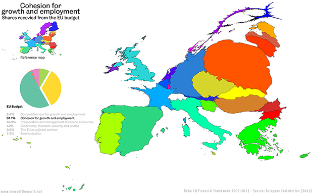 Cartogram / Map of the Budget of the European Union - Spending on Cohesion for Growth and Employment