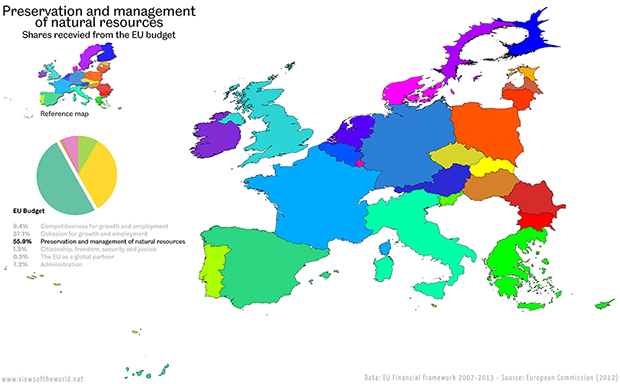 Cartogram / Map of the Budget of the European Union - Spending on Preservation and Management of Natural Resources