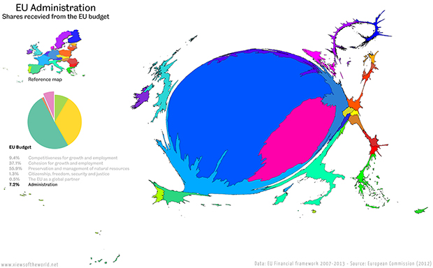 Cartogram / Map of the Budget of the European Union - Spending on Administration