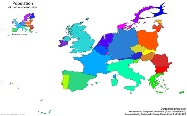 Cartogram / Map of the population of the European Union