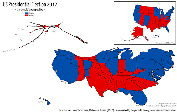 Cartogram / Map of the US Presidential Election 2012