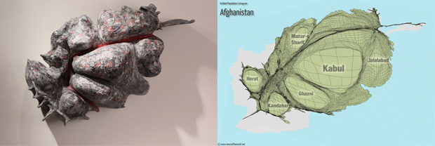 Sculpture and Gridded Population Cartogram of Afghanistan