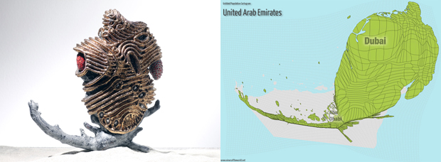 Sculpture and Gridded Population Cartogram of the United Arab Emirates