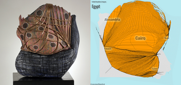 Sculpture and Gridded Population Cartogram of Egypt