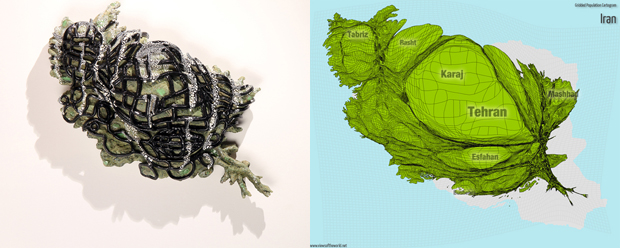 Sculpture and Gridded Population Cartogram of Iran