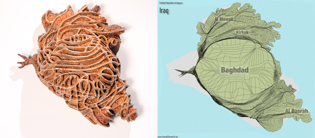 Sculpture and Gridded Population Cartogram of Iraq