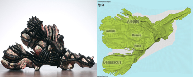 Sculpture and Gridded Population Cartogram of Syria