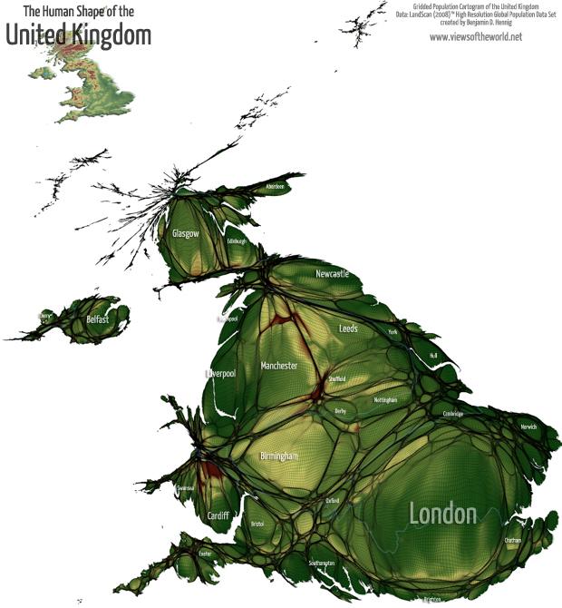 Gridded population Cartogram of the United Kingdom