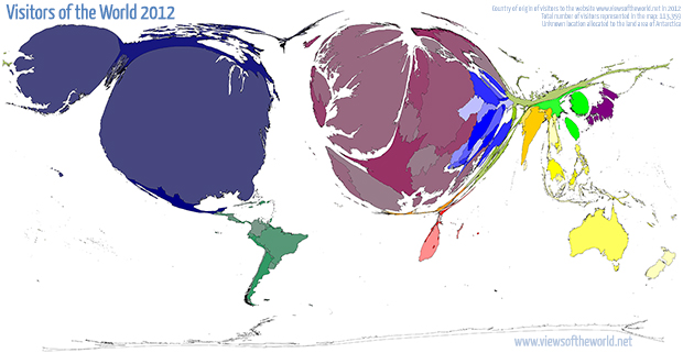 Cartogram / Map of the Visitors to ViewsOfTheWorld.net in 2012