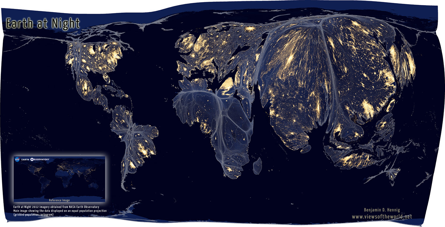 Earth at night views of the world equal population projection map of the earth at night gumiabroncs Gallery