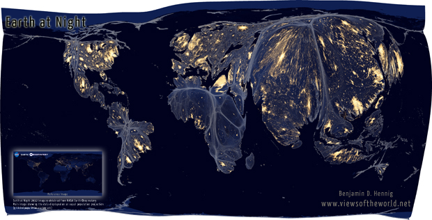 Equal population projection map the Earth at Night
