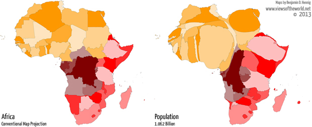 Cartogram / Map of Africa and its population