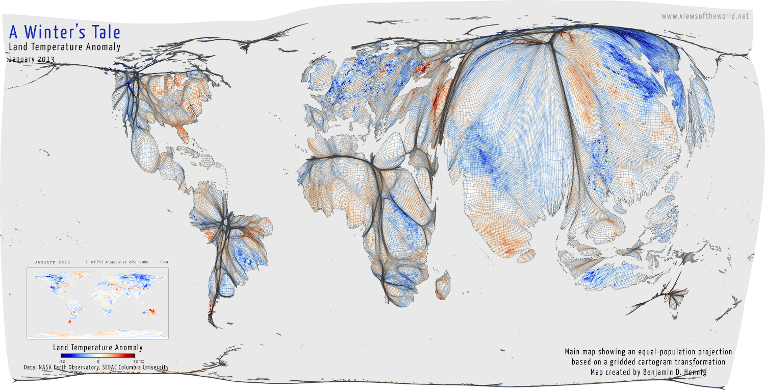 A Cold World Views Of The World - Temperature map united states january