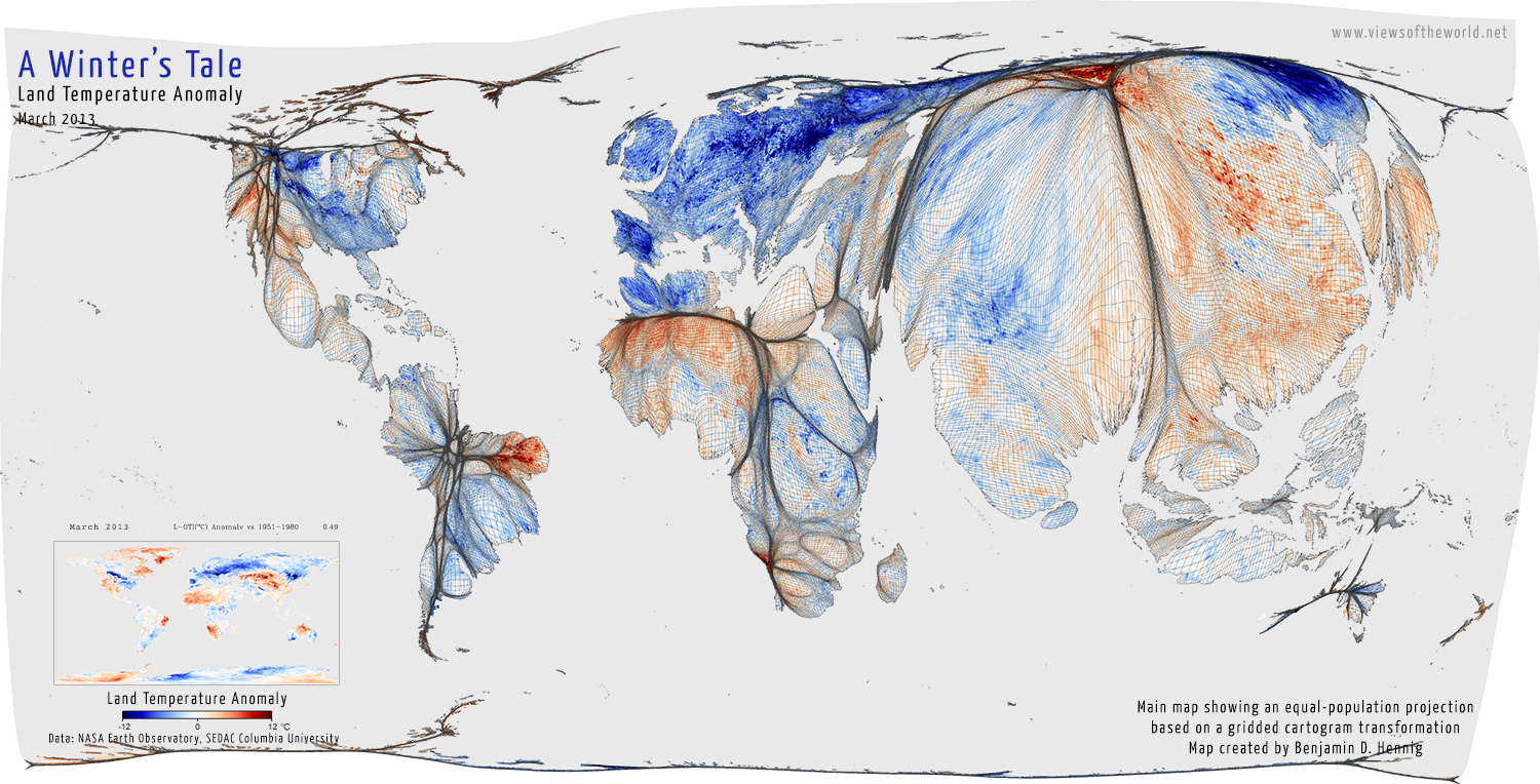 A Cold World Views Of The World - Map of us with equal population